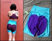 L Aqua // Purple Big Heart Bike Shorts size Large 10 12 14