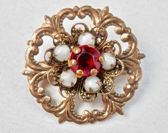 Vintage Brooch Red Glass Faux Ruby Opal Glass Goldtone 1950s Renaissance Revival Antique Jewelry Vintage Jewelry