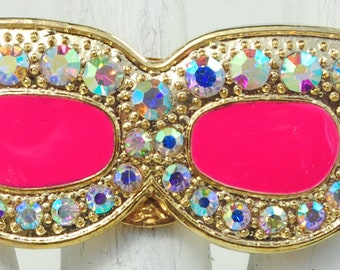 Bright Sunglasses Ring/Gold/Pink/Aurora Borealis Rhinestone/Spring/Summer Jewelry/Gift For Her/Adjustable/Under 15 USD