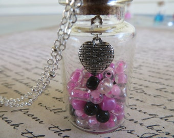 Glass Jar Pendant With Pink And Black Beads A Silver Heart On Silver Chain