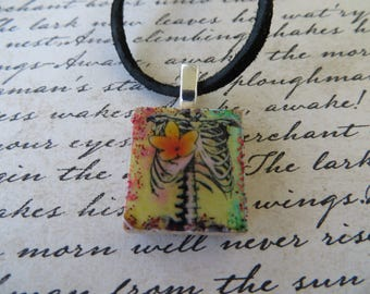 Vintage Look Spine Rib Cage Print Scrabble Tile Pendant With Leather Cord Necklace