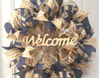 Door Wreath, Rustic Home Decor, Deco Mesh Wreath, Housewarming Gift, Gift For Couple, Navy Decorations, Neutral Wall Art