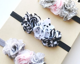 Chiffon Flower Baby Girl Elastic Headband, Valentines Day Elastic Headbands