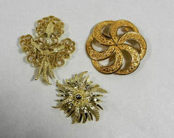 3 Gold Tone Brooch Pins, Lisa, Gerry's and 1 Unmarked