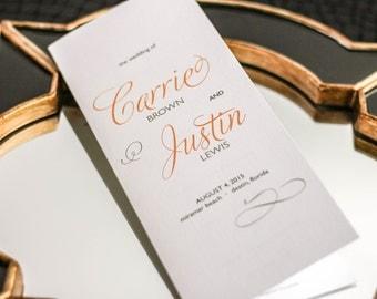 "Orange and Grey Wedding, Church Programs, Wedding Programs, Special Event Stationery - ""Modern Swirl and Flourish"" Booklet Program - DEPOSIT"