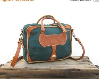 15% Off Out of Town Sale SALE Vintage Satchel Weaver Wear Forest Green Southwestern Tooled Leather Tote Bag