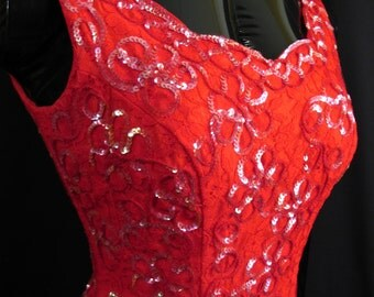 Vintage 1950's 50s Bombshell Mike Benet RED Taffeta Tulle Lace Sequins Red Carpet Prom DRESS Gown