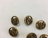 """Vintage Metal Bee Buttons - 1/2"""" 1.27cm"""