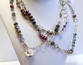 Crystal Bead Delight Long Wrap Statement Necklace in purple blue and silver