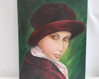 Portrait of Woman Painting.  Paris in the Winter Signed ODY.  (Odette Prieur) Vintage French   (5459)