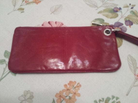 Hobo International Vintage Wristlet Clutch Handbag Purse - Red Leather Zip Closure