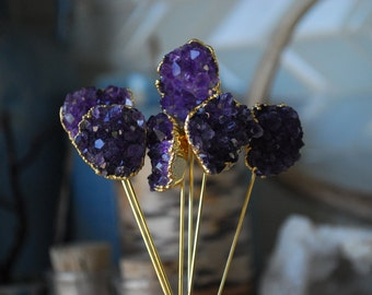 AMETHYST HAIR PINS /// 24kt Gold Electroformed Hair Pins