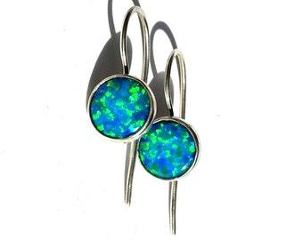 Blue Opal Silver Earrings - Opal Dangle Earrings - Opal Silver- Stone Earrings- Opal - Opal Drop Earrings - Blue Earrings.
