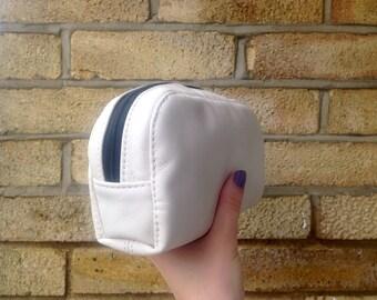 Cream Soft Leather Make-Up Bag