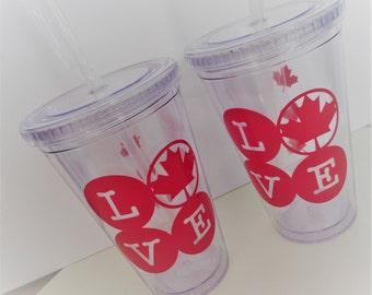 CANADA 16OZ ACRYLIC Tumbler - LOVE! Show your Canadian Love! Canadian Sticker, Maple Leaf, Canadiana
