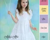 Flutter Sleeve Dress, Easter Dress, Monogrammed Dress, Wedding Dress, Flower Girl Dress, Beach Dress, Toddler Girls Dress, Baptism Dress