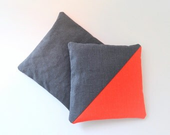 modern lavender sachets neon orange and slate grey - minimal lavender sachets - housewarming gift - lavender pillow - gift for her