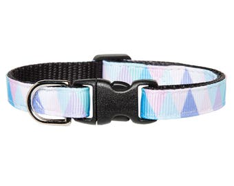 "Cat Collar - ""The Late Riser"" - Purple + Teal Triangles"