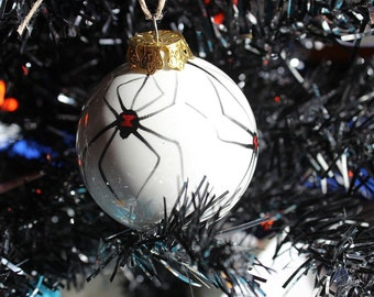 """3"""" Ceramic Black Widow Spider Ball Ornament for Christmas or Halloween"""