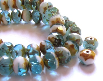 Czech rondelle beads, Rustic aqua 8x6mm beads,  8mm Picasso glass beads, 12 Czech beads, Small quantity Destash