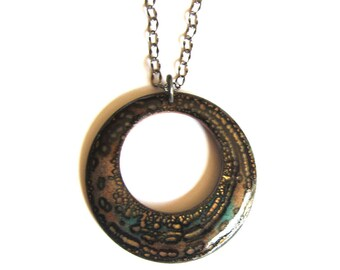 "Long boho enamel pendant 30"" hoop artisan necklace Brown black gold circle necklace Colorful enameled copper bohemian jewelry"