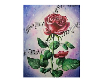 Tale As Old As Time- Watercolor Print Beauty and the Beast Music Enchanted Rose Art Fairy Tale