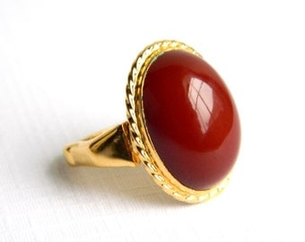 "Vintage Vendome Gold Red Carnelian Ring - Pat. 2,981,855 - 6/8"" High - Adjustable"