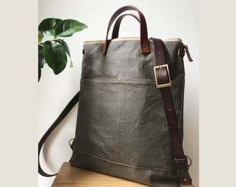 Waterproof -2way tote bag backpack bag with leather strap/unsiex bag /travel bag /Backpack /Laptop bag /leahter strap /