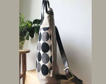 SALE-2way tote bag backpack bag with leather strap