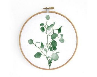 Eucalyptus // embroidery hoop, urban jungle, wall decoration art by renna deluxe