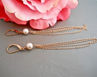 Tassel Earrings, Rose Gold Tassel, Freshwater Pearl Earrings Long Dangle Earrings, Long Drop Earrings, Shoulder Dusters, Chain Earrings