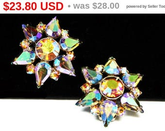 Spring Sale Vintage Star Flower Earrings - Blue Carnival Glass Rhinestones - Aurora Borealis Stones - Iridescent Stars - Clip on Earrings...