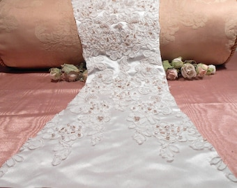 Vintage Lace Remnant Beaded Remnant Pink Satin flowers  Craft Supply Wedding