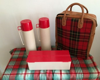 Vintage Auto Picnic Suitcase Red Plaid Case with Two Thermoses and Sandwich Box Red Plastic Tops Perfect for Tailgating Christmas Tailgate