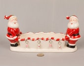 Vintage Santa Cracker/candy holder, Vintage TII Collections, Two santas, Candy cane edge on dish, Hanging ornaments, Label on bottom