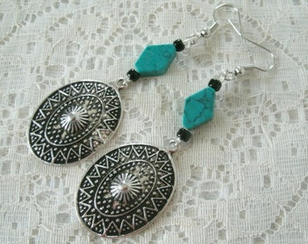 Turquoise Earrings, southwestern jewelry southwest jewelry turquoise jewelry native american jewelry style country western boho bohemian