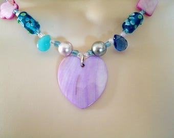 Mother Of Pearl Heart Necklace boho jewelry gypsy jewelry bohemian jewelry hipster jewelry hippie new age ocean beach necklace boho necklace