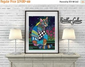 50% Off Today- CAT Folk art  Poster Print of  Painting  by Heather Galler Flowers (Hg271)