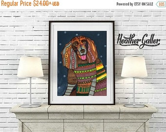 50% Off Today- ART Print - Dog Poster of Painting - American Water Spaniel art dog Poster Print of painting by Heather Galler (Hg387)