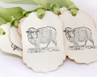 Easter Tags (Double Layered) -Lamb Tags  - Sheep Tags - Vintage Lamb Tags - Spring Tags - Vintage Easter Tags  - Set of 8