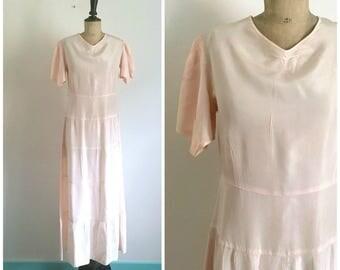 1930s Antique Maxi  Summer Slip Dress - Light Pink Taffeta  - Petal Sleeves / Size Small to Medium