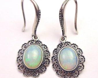 SALE, Opal Earrings, Sterling Silver,Antiqued Filigree Settings, Australian Opals, Lavender, Blue, Pink, Green, Fire, Great Gift