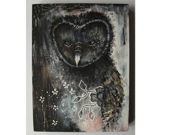 folk art Original owl painting mixed media art painting on wood canvas 8x6 inches - In the shadows