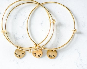 Bangle Stack Custom names stamped women's gold or silver bracelet wire layering layered expandable