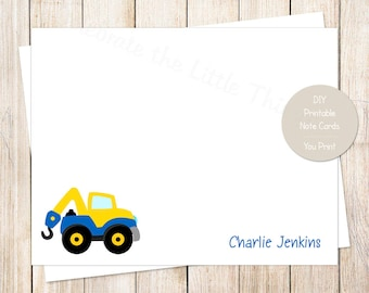 PRINTABLE kids stationery . tow truck stationary . boys personalized notecards . FLAT note cards . transportation