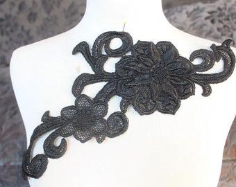 Cute  flower  venice   applique     black color  1 pieces listing
