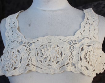Ivory color    venice  embroidered applique yoke