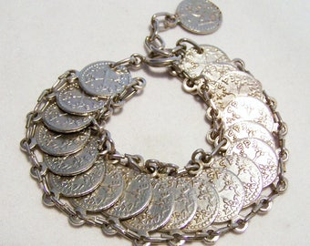 Faux Coin Linked Bracelet, Silver Tone Adjustable Length, Mid Century Vintage Jewelry, Costume Jewellery, Arm Party  916DGZ