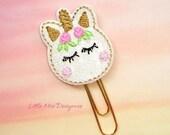 Unicorn Macaron Glitter Planner Clip Paperclip in pink white