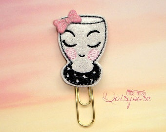 Girl Cup Glitter Planner Clip Paperclip